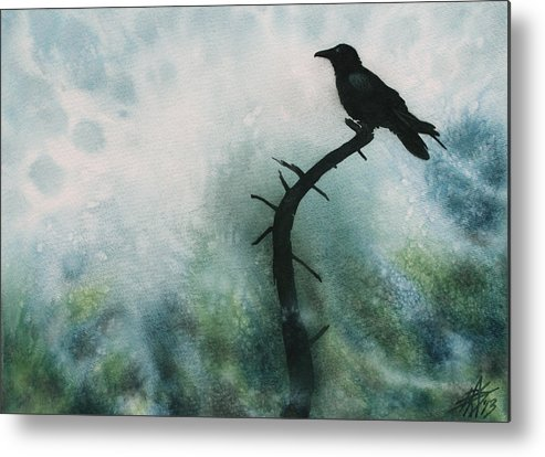 Raven Metal Print featuring the painting Canyon Denizen or Torrey Pine Remains with Raven by Robin Street-Morris