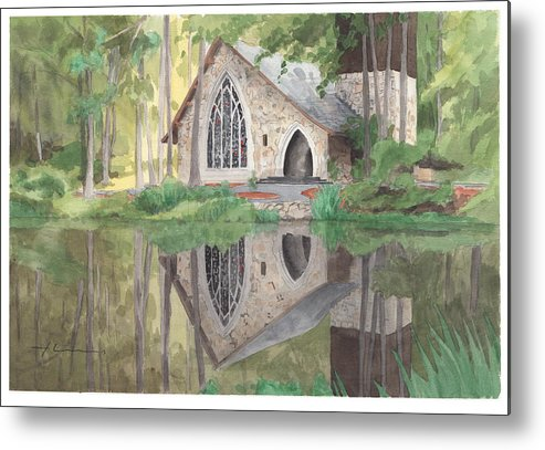 <a Href=http://miketheuer.com Target =_blank>www.miketheuer.com</a> Church In The Woods Watercolor Portrait Metal Print featuring the drawing Church In The Woods Watercolor Portrait by Mike Theuer