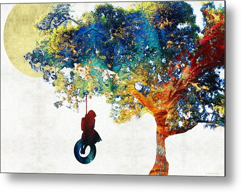 Tree Metal Print featuring the painting Colorful Landscape Art - The Dreaming Tree - By Sharon Cummings by Sharon Cummings
