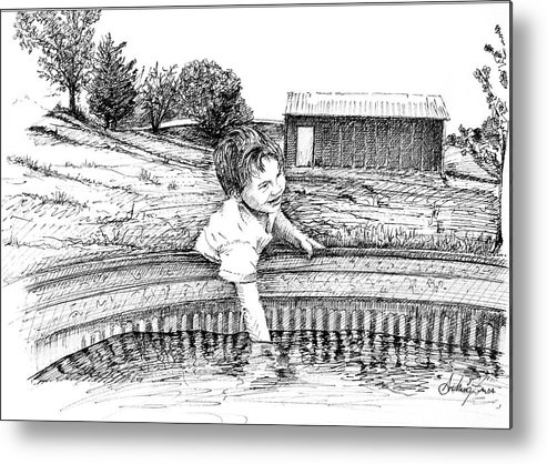 Ink Metal Print featuring the drawing Cool Water by Arthur Fix