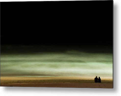 Heterosexual Couple Metal Print featuring the photograph Couple Looking At Sea At Night In El by Thomas Halle