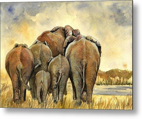 Herd Metal Print featuring the painting Elephants herd by Juan Bosco