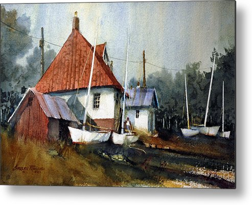 England Metal Print featuring the painting English Coastal Boatshed by Charles Rowland