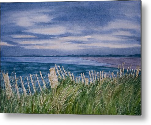 Landscape Metal Print featuring the painting Evening Tide by Monika Degan
