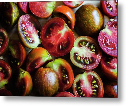 Tranquility Metal Print featuring the photograph Freshly Cut Tomatoes by Jamie Grill