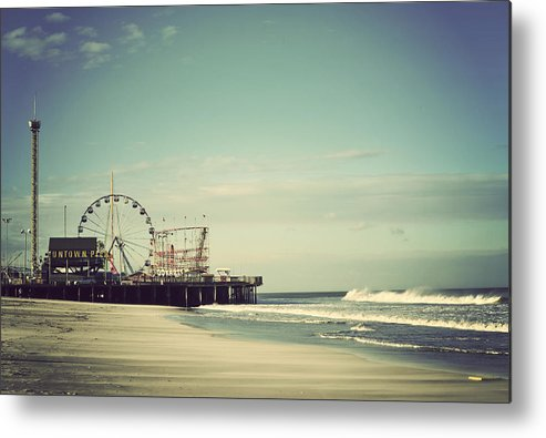 Funtown Pier Metal Print featuring the photograph Funtown Pier Seaside Heights New Jersey Vintage by Terry DeLuco