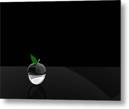 Glass Metal Print featuring the digital art Glass Apple by Paul McManus