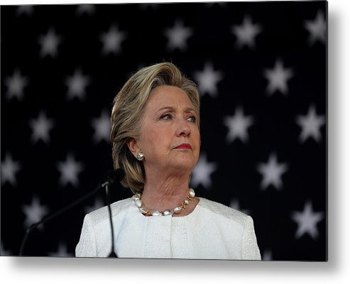 Nominee Metal Print featuring the photograph Hillary Clinton Campaigns Across by Justin Sullivan