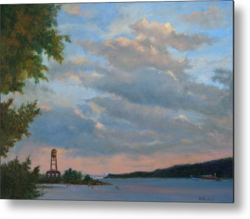 Hudson River Metal Print featuring the painting Hudson River Skyscape by Phyllis Tarlow