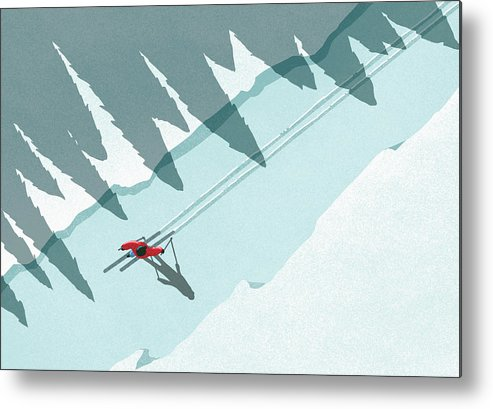 Ski Pole Metal Print featuring the digital art Illustration Of Man Skiing During by Malte Mueller