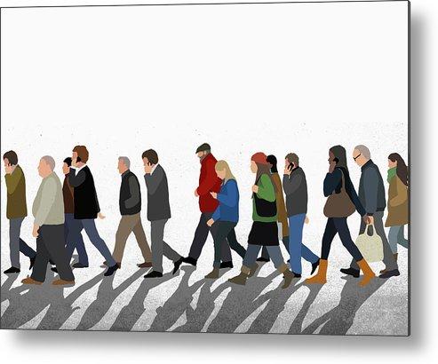Shadow Metal Print featuring the digital art Illustration Of People Walking On by Malte Mueller