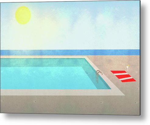 Swimming Pool Metal Print featuring the digital art Illustration Of Swimming Pool On Sunny by Malte Mueller