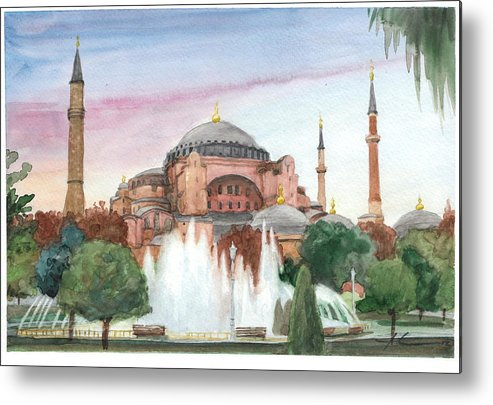 <a Href=http://miketheuer.com Target =_blank>www.miketheuer.com</a> Istanbul Mosque Watercolor Painting Metal Print featuring the drawing Istanbul Mosque Watercolor Painting by Mike Theuer