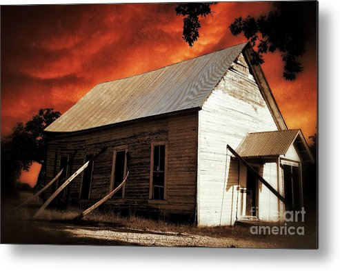 Abandoned Metal Print featuring the photograph Lone star church by AK Photography