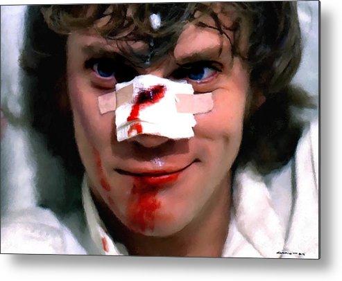 Alex Metal Print featuring the digital art Malcolm McDowell as Alex in the film Clockwork Orange by Stanley Kubrick 1971 by Gabriel T Toro