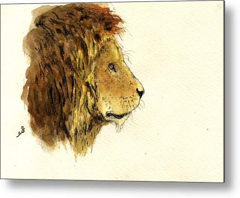 Male Metal Print featuring the painting Male lion head by Juan Bosco