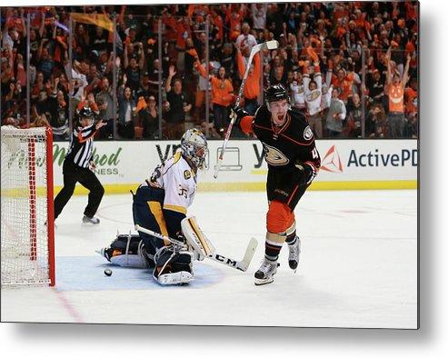 Playoffs Metal Print featuring the photograph Nashville Predators V Anaheim Ducks - by Victor Decolongon