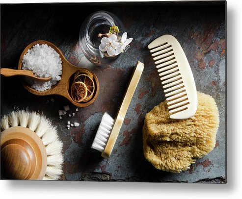 Comb Metal Print featuring the photograph Natural Bath Accesories On Gray by Nightanddayimages