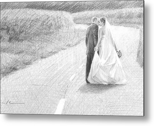 <a Href=http://miketheuer.com Target =_blank>www.miketheuer.com</a> Metal Print featuring the drawing Newlyweds Walking Kissing Pencil Portrait by Mike Theuer