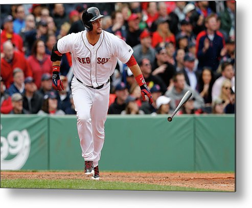 American League Baseball Metal Print featuring the photograph Oakland Athletics V Boston Red Sox by Jim Rogash