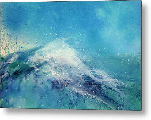 Gouache Metal Print featuring the digital art Painting Of An Ocean Wave by Brad Rickerby