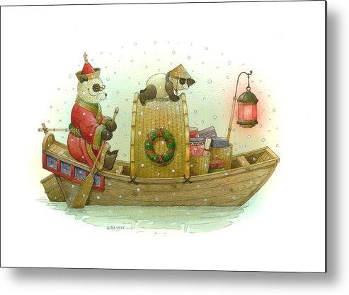 Christmas Panda Bear Snow Winter White Red Boat Water Holiday Metal Print featuring the painting Pandabears Christmas by Kestutis Kasparavicius