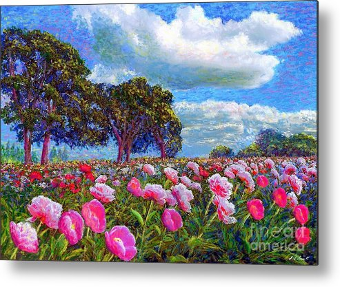 Floral Metal Print featuring the painting Peony Heaven by Jane Small