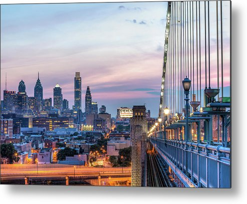 Suspension Bridge Metal Print featuring the photograph Philadelphia Skyline by Vns24@yahoo.com