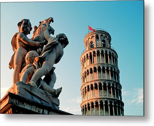 Statue Metal Print featuring the photograph Pisa, Leaning Tower, Tuscany, Italy by Hans-peter Merten