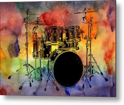 Drums Metal Print featuring the photograph Psychedelic Drum Set by Athena Mckinzie