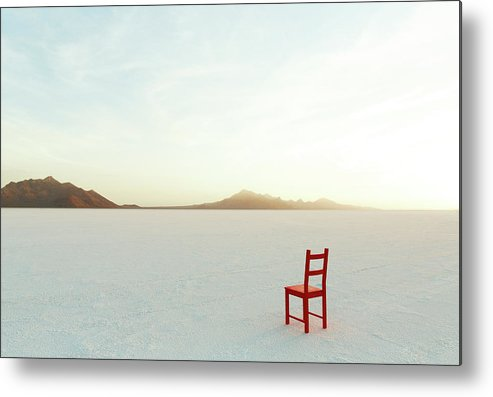 Tranquility Metal Print featuring the photograph Red Chair On Salt Flats, Facing The by Andy Ryan