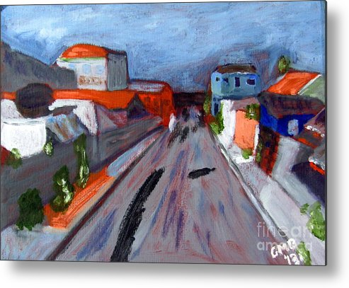 Curitiba Metal Print featuring the painting Rua Dr Rafael Ribeiro Study IV by Greg Mason Burns