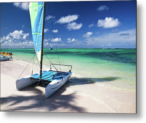Wind Metal Print featuring the photograph Sailboat At Caribbean Sea by Danilovi