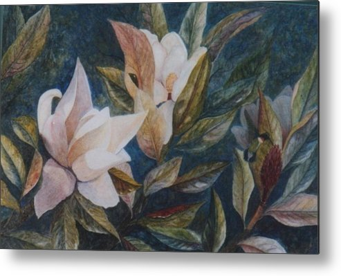 Magnolias; Humming Bird Metal Print featuring the painting Serenity by Ben Kiger