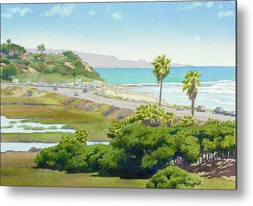 Solana Beach Metal Print featuring the painting Solana Beach California by Mary Helmreich