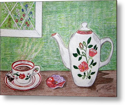 Stangl Pottery Metal Print featuring the painting Stangl Pottery Rose Pattern by Kathy Marrs Chandler