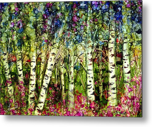 Trees Metal Print featuring the painting Summer Birch by Francine Dufour Jones