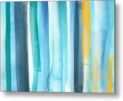 Water Metal Print featuring the painting Summer Surf- Abstract Painting by Linda Woods