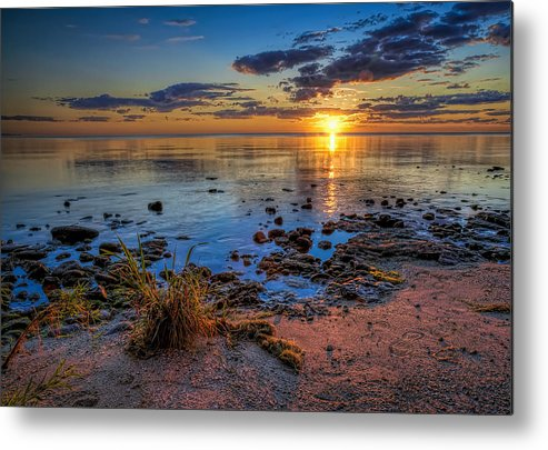 Sun Metal Print featuring the photograph Sunrise over Lake Michigan by Scott Norris
