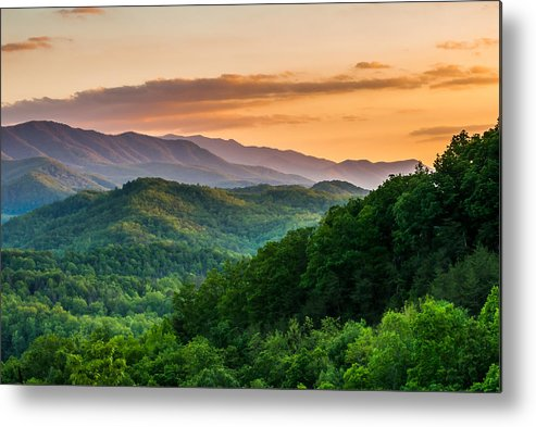 Smoky Mountains Metal Print featuring the photograph Sunset In The Smoky's by Paul Johnson
