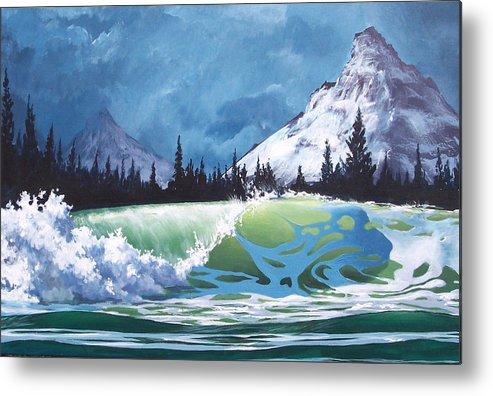 Wave Metal Print featuring the painting Surf and Snow by Philip Fleischer