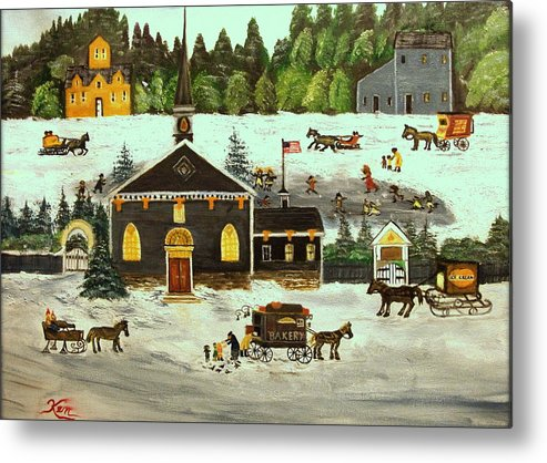 Folk Art Metal Print featuring the painting The Church by Kenneth LePoidevin