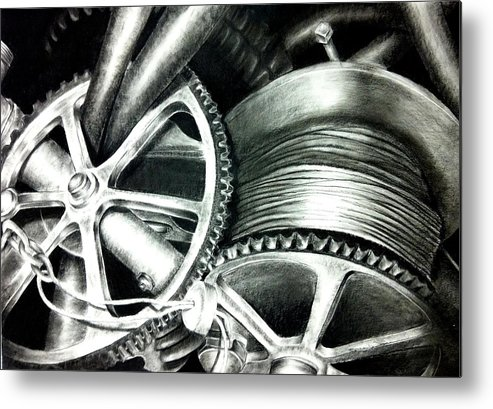 Original Metal Print featuring the drawing The Grind by Stephanie LeVasseur