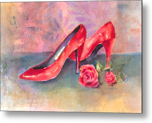 Shoe Metal Print featuring the painting The Red Shoes by Arline Wagner