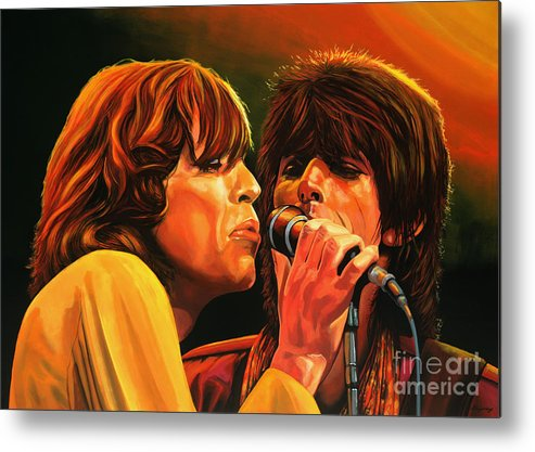 The Rolling Stones Metal Print featuring the painting The Rolling Stones by Paul Meijering