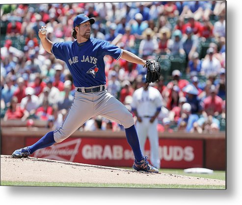American League Baseball Metal Print featuring the photograph Toronto Blue Jays V Texas Rangers by Brandon Wade