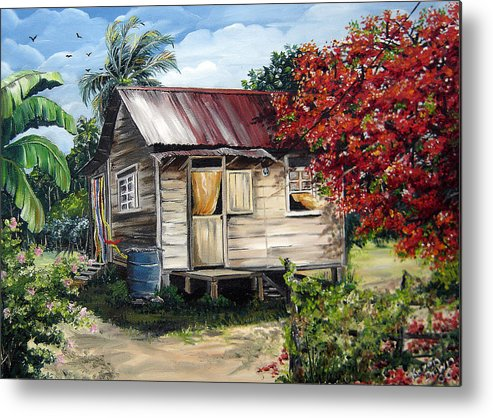 Landscape Paintings Tropical Paintings Trinidad House Paintings House Paintings Country Painting Trinidad Old Wood House Paintings Flamboyant Tree Paintings Caribbean Paintings Greeting Card Paintings Canvas Print Paintings Poster Art Paintings Metal Print featuring the painting Country Life by Karin Dawn Kelshall- Best