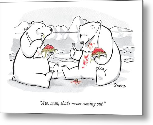 Polar Bears Metal Print featuring the drawing Two Polar Bears Eat Spaghetti And Meatballs. One by Benjamin Schwartz