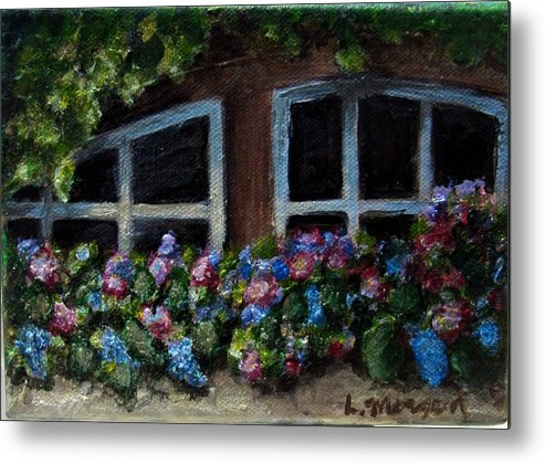 Window Box Metal Print featuring the painting Window Box Wonder by Laurie Morgan