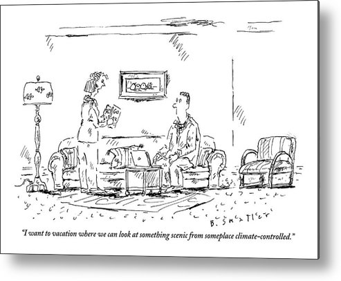 Travel Metal Print featuring the drawing Woman Holding Travel Book Speaks To Man In Living by Barbara Smaller